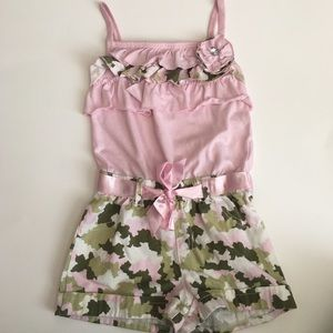 (SALE)Pink and Green Camouflage Romper